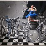 Escenario metafisico con bailarina